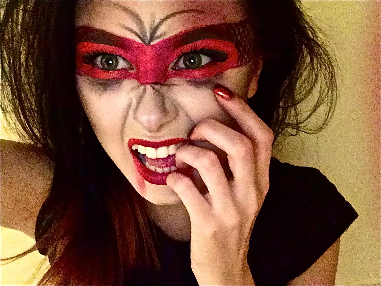 Halloween Makeup Devil Girl.Here S My Red Devil Masked Vombie Makeup Mashup Happy Halloween